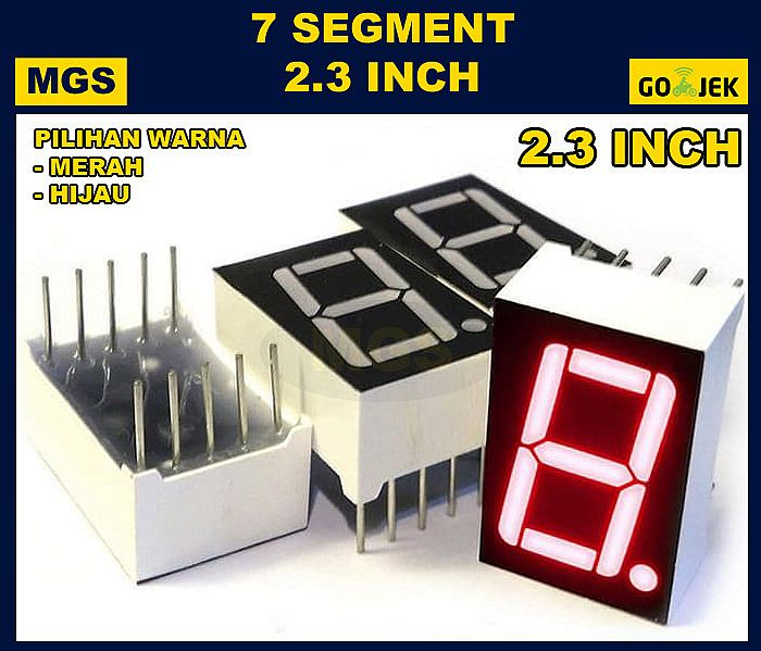 LED 7 Segment 2.3 inch Display 2.3inch Segmen Digit Merah Hijau