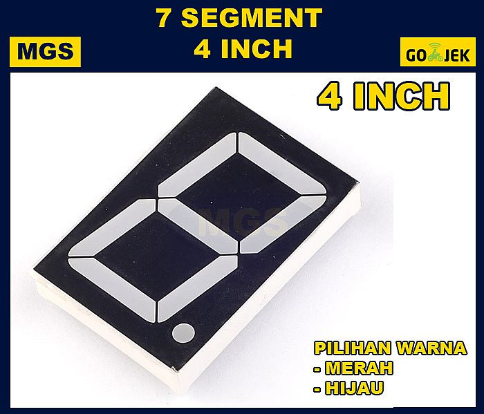 LED 7 Segment 4 inch Display 4inch 4in Segmen Digit Merah Hijau