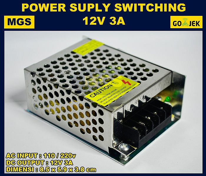 Adaptor 12V 3A Power Supply Switching LED Jaring 3 Ampere 12 Volt DC