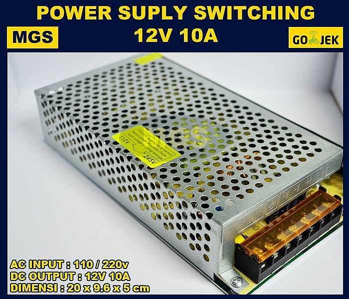 Adaptor 12V 10A Power Supply Switching LED Jaring 10 Ampere 12 Volt DC