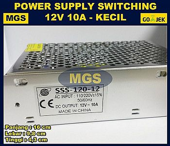 Adaptor 12V 10A Power Supply Switching Jaring Body Kecil