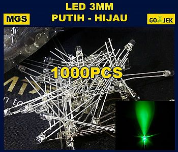 1000PCS LED 3MM PUTIH NYALA HIJAU