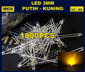 1000PCS LED 3MM PUTIH NYALA KUNING