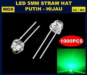 1000PCS LED 5MM STRAWHAT HIJAU