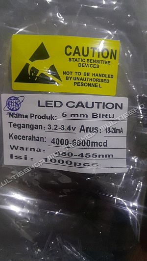 1000Pcs LED 5mm Putih Nyala biru