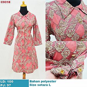C9318 - DRESS WANITA IMPORT MOTIF BATIK SIZE SETARA L