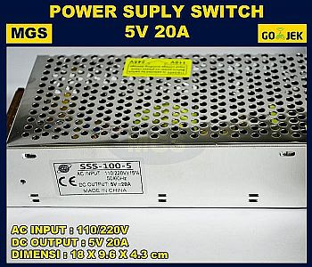 Adaptor 5V 20A Power Supply Switching LED Jaring 20 Ampere 5 Volt DC